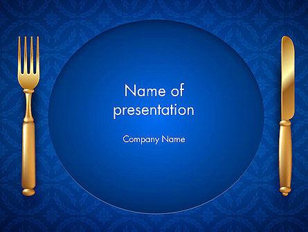 Food & Beverage: ゴールドフォーク、ナイフ、ブルー、布 - PowerPointテンプレート #13727