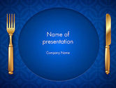 Food & Beverage: Gold Fork and Knife on Blue Cloth PowerPoint Template #13727