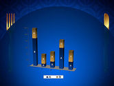 Gold Fork and Knife on Blue Cloth PowerPoint Template#17