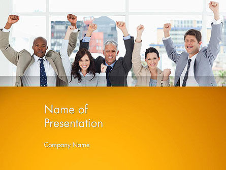 Rejoicing Business People PowerPoint Template, 13735, People — PoweredTemplate.com