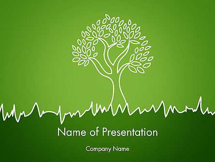Nature & Environment: Green Tree and Grass Illustration PowerPoint Template #13741