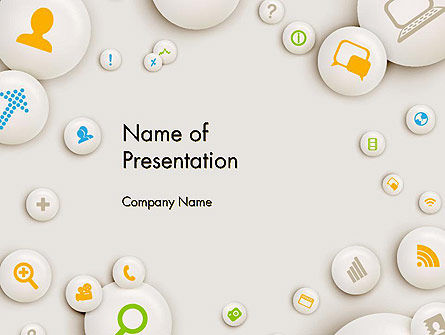 Scattering of Badges with Icons PowerPoint Template