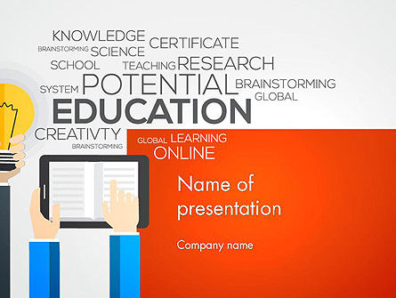 Education & Training: Global Online Learning PowerPoint Template #13750