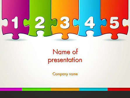 Jigsaw Puzzle Piece with Numbers PowerPoint Template