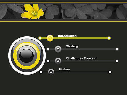 Yellow Flower on Gray Leaves PowerPoint Template, Slide 3, 13760, Nature & Environment — PoweredTemplate.com