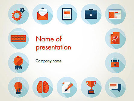 Flat Icons On Education Theme PowerPoint Template, 13769, Education & Training — PoweredTemplate.com