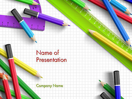 Pencils and Rulers PowerPoint Template