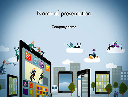 Mobile Advertising PowerPoint Template, 13779, Careers/Industry — PoweredTemplate.com