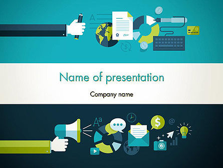 Careers/Industry: Platte Ontwerp Advertenties PowerPoint Template #13781