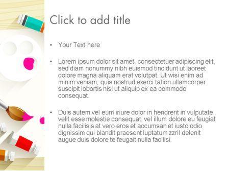 Top View Artist Workplace PowerPoint Template, Slide 3, 13788, Art & Entertainment — PoweredTemplate.com