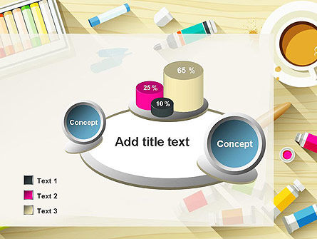 Top View Artist Workplace PowerPoint Template Slide 16