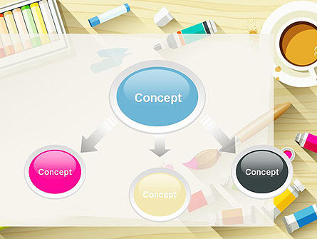 Top View Artist Workplace PowerPoint Template Slide 4