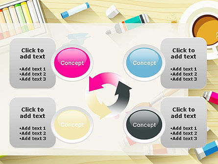 Top View Artist Workplace PowerPoint Template Slide 9