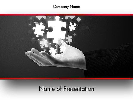 Business Concepts: Businessman Hand with Glowing Puzzle Pieces PowerPoint Template #13790