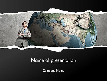 Dreaming Businessman Standing Near Globe PowerPoint Template