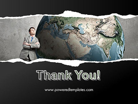 Dreaming Businessman Standing Near Globe PowerPoint Template Slide 20