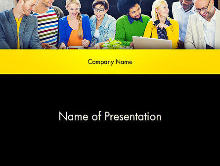 People: Team Discusses Market Trends PowerPoint Template #13800