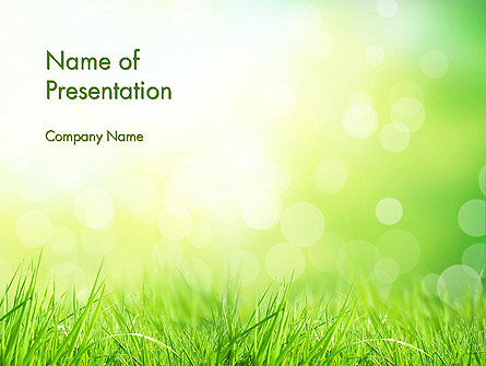 Grass On The Sunshine Rays PowerPoint Template, 13817, Nature & Environment — PoweredTemplate.com
