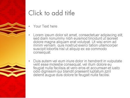 Golden Frame on Brocade Ornament PowerPoint Template, Slide 3, 13822, Abstract/Textures — PoweredTemplate.com