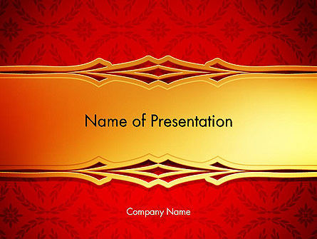Golden Frame on Brocade Ornament PowerPoint Template