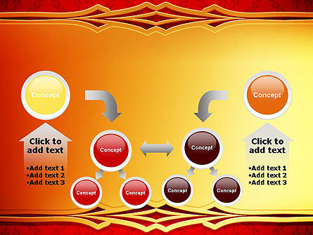 Golden Frame on Brocade Ornament PowerPoint Template Slide 19