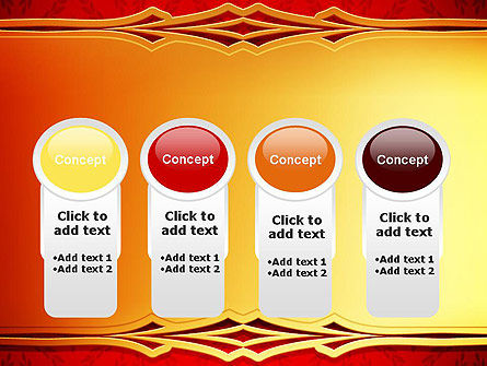 Golden Frame on Brocade Ornament PowerPoint Template Slide 5
