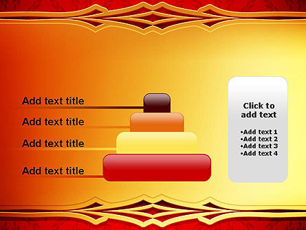 Golden Frame on Brocade Ornament PowerPoint Template Slide 8