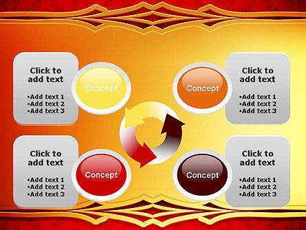 Golden Frame on Brocade Ornament PowerPoint Template Slide 9