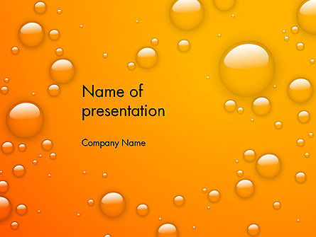 Food & Beverage: Orange Water Bubbles PowerPoint Template #13847