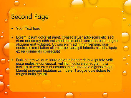 Orange Water Bubbles PowerPoint Template, Slide 2, 13847, Food & Beverage — PoweredTemplate.com