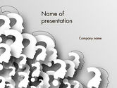 Business Concepts: Faces With Question Marks PowerPoint Template #13848