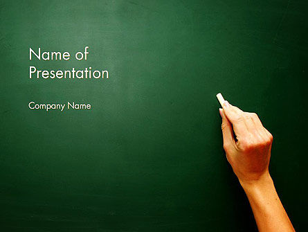 Empty Blackboard with Hand and Chalk PowerPoint Template