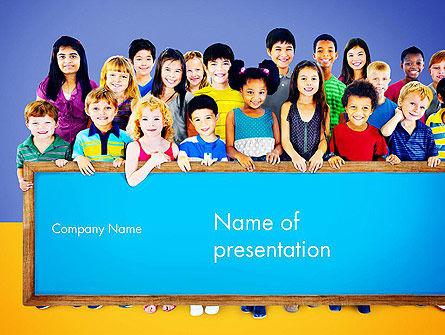 Diverse Preschool Children PowerPoint Template, 13859, Education & Training — PoweredTemplate.com