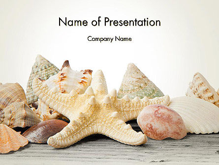 Starfish with Shells PowerPoint Template, 13860, Animals and Pets — PoweredTemplate.com