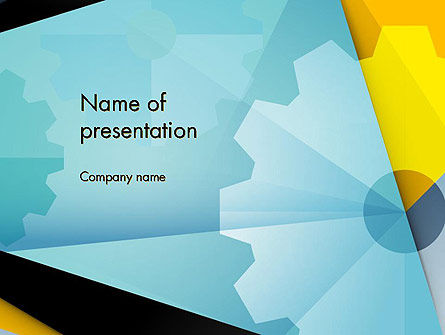 Utilities/Industrial: Flat Designed Cogwheel Abstract PowerPoint Template #13869