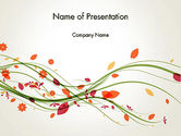 Nature & Environment: Branch with Autumn Leaves PowerPoint Template #13874