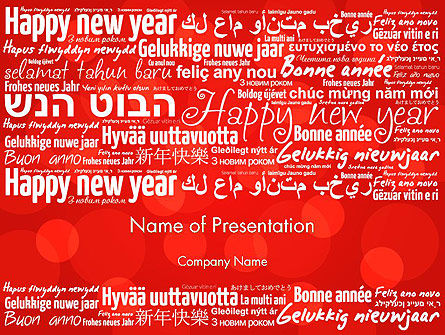Holiday/Special Occasion: Happy New Year Wishes in Different Languages PowerPoint Template #13877