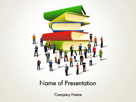 Book Stack and People PowerPoint Template, 13880, Education & Training — PoweredTemplate.com