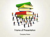 Education & Training: Book Stack and People PowerPoint Template #13880