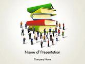 Education & Training: ブックスタックと人 - PowerPointテンプレート #13880