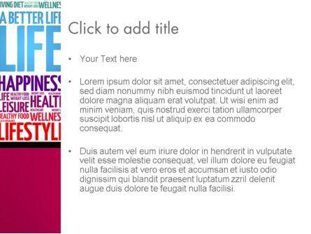 A Better Life Word Cloud PowerPoint Template, Slide 3, 13889, Sports — PoweredTemplate.com