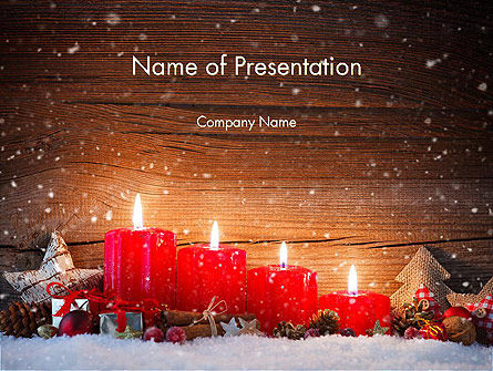 Christmas Candlelight PowerPoint Template, 13892, Holiday/Special Occasion — PoweredTemplate.com