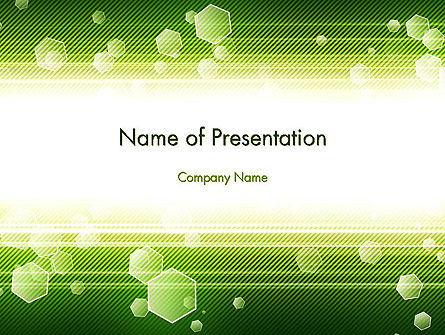 Tech Green Background with Hexagons PowerPoint Template