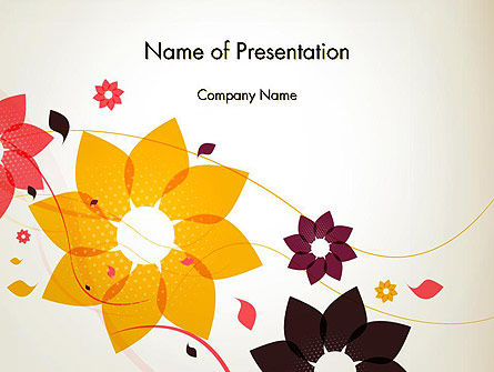 Colored Flowers in Flat Design PowerPoint Template