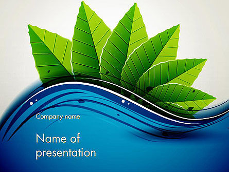River and Green Leaves PowerPoint Template, 13901, Nature & Environment — PoweredTemplate.com