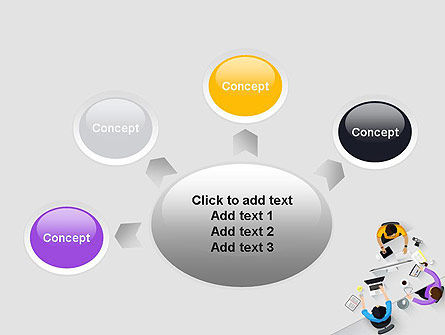 Business People Working at Desk Top View PowerPoint Template Slide 7