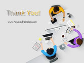 Business People Working at Desk Top View PowerPoint Template#20