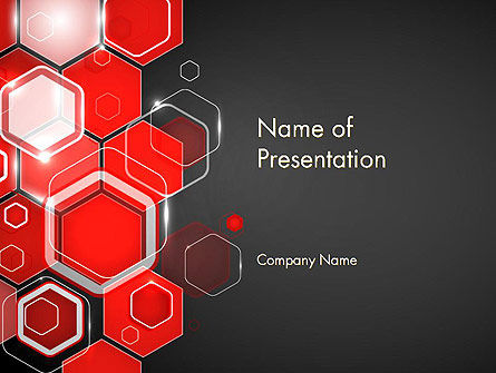 Red Hexagons Abstract PowerPoint Templat, 13908, Abstract/Textures — PoweredTemplate.com