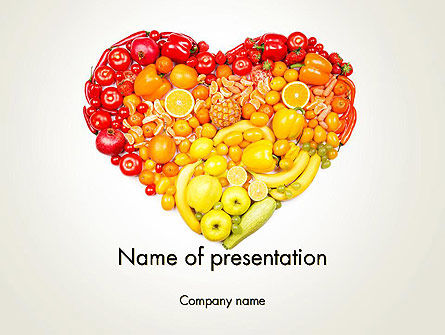 Fruits and Vegetable Heart PowerPoint Template