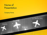 Cars and Transportation: Flight Destinations PowerPoint Template #13944